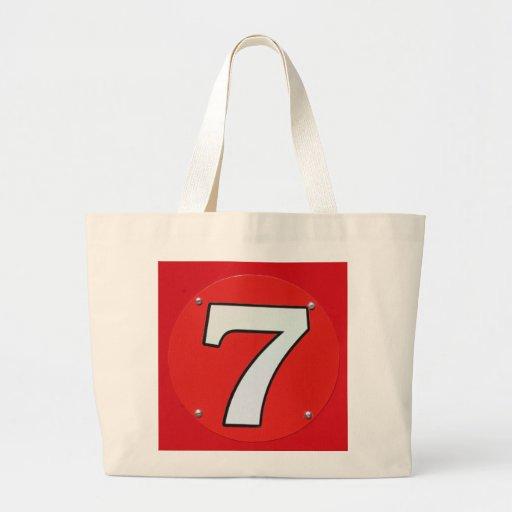 Número afortunado siete bolsas lienzo