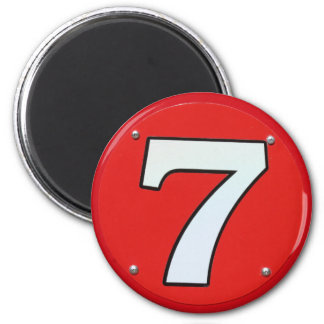 Número afortunado siete imán redondo 5 cm
