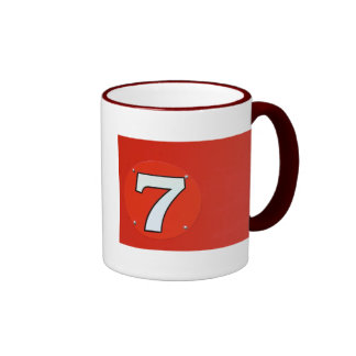 Número afortunado siete taza a dos colores