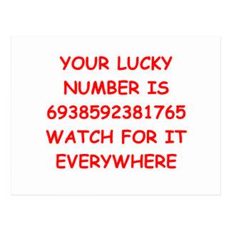 número afortunado tarjetas postales