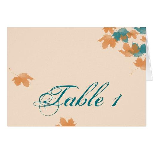 Número anaranjado de la tabla del boda de la hoja  tarjeta