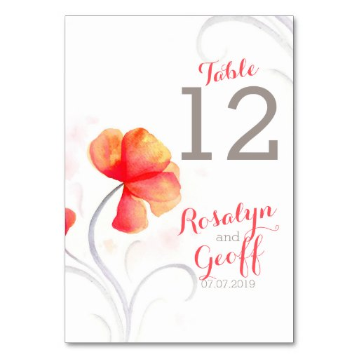 Número anaranjado de la tabla del boda del wildflo