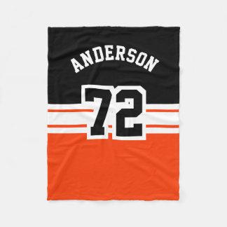 Número anaranjado y negro del deporte manta de forro polar