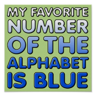 Número azul de la muestra divertida del poster del
