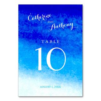 Número azul de la tabla del boda de playa de la