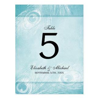 Número azul de la tabla del boda del pavo real de postales