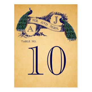 Número azul de la tabla del boda del vintage de lo postales