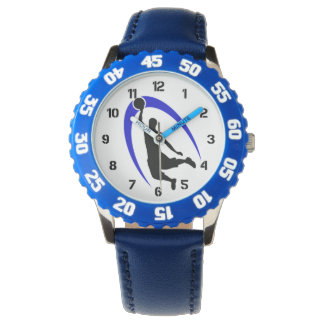 Número azul negro del logotipo del baloncesto relojes de mano