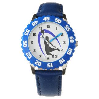 Número azul negro del logotipo del baloncesto reloj de mano