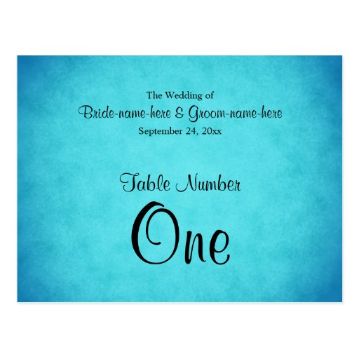 Número azul y negro de la tabla del boda postal