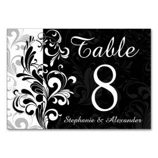 Número blanco negro de la tabla del boda del