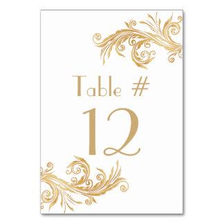 Número blanco y dorado elegante de la tabla del bo
