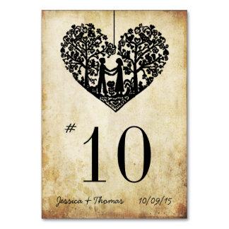 Número colgante de la tabla del boda del vintage