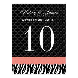 Número conocido de encargo de la tabla del boda de postal