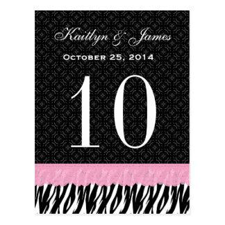 Número conocido de encargo de la tabla del boda de tarjeta postal