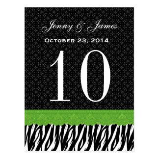 Número conocido de encargo de la tabla del boda de tarjetas postales