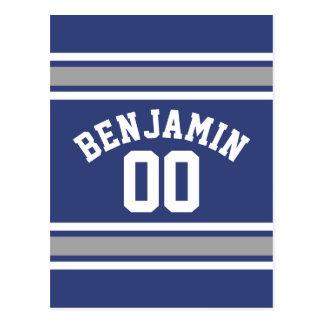 Número conocido de encargo del jersey azul y de tarjeta postal