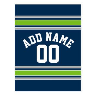 Número conocido de encargo del jersey azul y verde postal