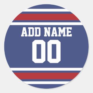 Número conocido de encargo del jersey del fútbol pegatina redonda