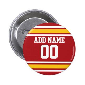 Número conocido de encargo del jersey del fútbol pin redondo de 2 pulgadas