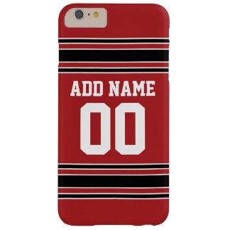 Número conocido de encargo del jersey rojo y negro funda de iPhone 6 plus barely there