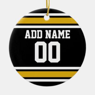 Número conocido de encargo del oro del jersey adorno navideño redondo de cerámica