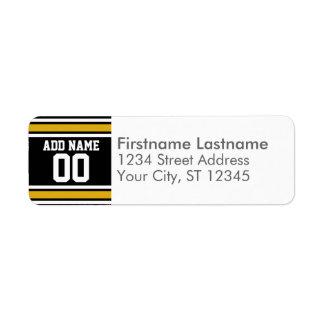 Número conocido de encargo del oro del jersey negr etiqueta de remitente