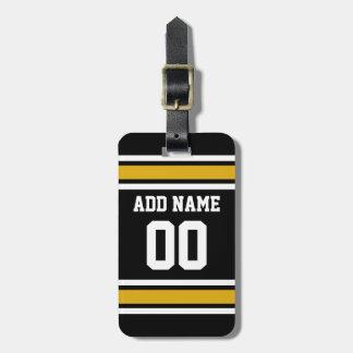 Número conocido de encargo del oro del jersey negr etiqueta para maleta