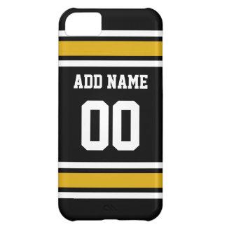 Número conocido de encargo del oro del jersey negr funda para iPhone 5C
