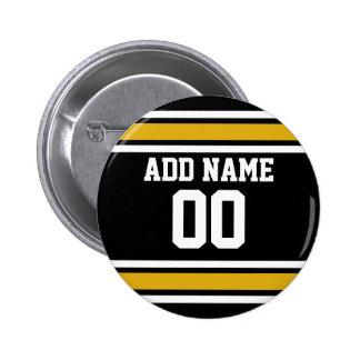 Número conocido de encargo del oro del jersey negr pin redondo de 2 pulgadas