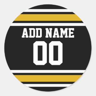 Número conocido de encargo del oro del jersey pegatinas redondas
