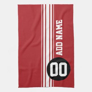 Número conocido de encargo negro rojo de las rayas toalla de mano
