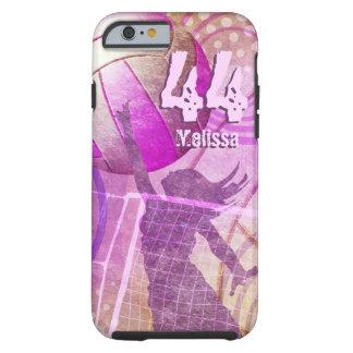 Número conocido púrpura del rosa del jugador del funda resistente iPhone 6