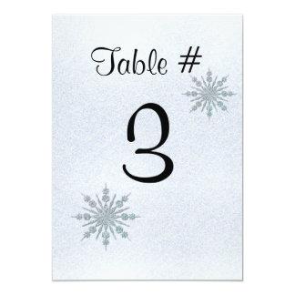 """Número cristalino de la tabla del boda del invitación 5"""" x 7"""""""