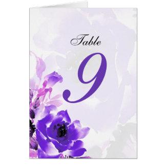 Número de asiento color de rosa púrpura de la tabl tarjeta de felicitación