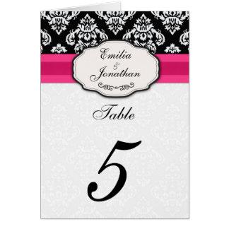 Número de asiento de la tabla del arco del damasco tarjeta de felicitación