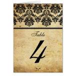 Número de asiento de la tabla del damasco del vint tarjeta