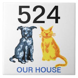 número de casa azulejo cuadrado grande