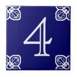 Número de casa - blanco español en azul azulejo cerámica