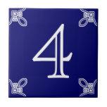 Número de casa - blanco español en azul teja