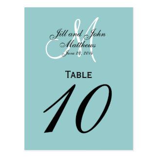 Número de encargo azul de la tabla del boda del mo tarjeta postal