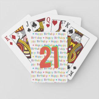 Número de encargo de la edad del feliz cumpleaños baraja de póquer
