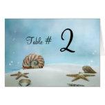 Número de encargo de la tabla del boda de la playa tarjetas