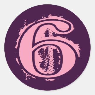 Número de estilo rosado 6 del Grunge Etiquetas Redondas