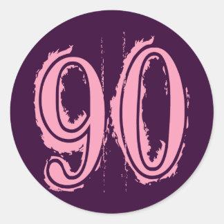 Número de estilo rosado 90 del Grunge Pegatina Redonda