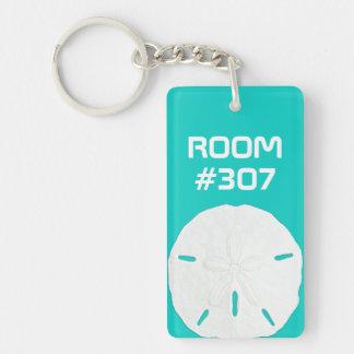 Número de habitación de alquiler de la turquesa llavero rectangular acrílico a una cara