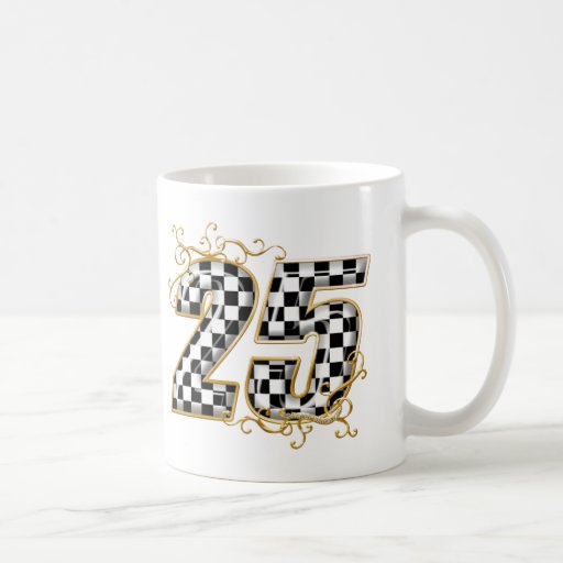 número de la bandera de 25 inspectores taza de café