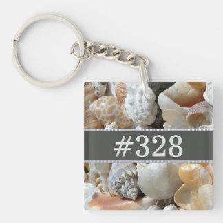 Número de la habitación del negocio de la playa de llavero cuadrado acrílico a una cara