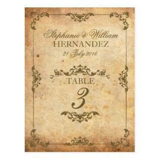 Número de la tabla de la recepción nupcial del tarjetas postales
