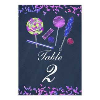 """Número de la tabla de la tiza de los dulces de la invitación 3.5"""" x 5"""""""